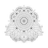 Floral ornament black and white. Floral asian boho ornament with leaves and mandala, black and white isolated element. Can be use for coloring book, tattoo stock illustration