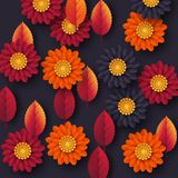 Floral autumn background with 3d paper cut style flowers and leaves. Yellow, orange, purple colors, vector illustration. Floral autumn background with 3d paper vector illustration