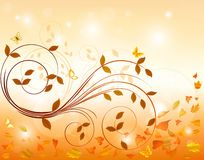 Floral autumn background  design. Stock  vector Illustration Royalty Free Stock Photos