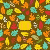 Floral autumn background with leaves. Happy autumn. Hello autumn. pumpkin stock illustration