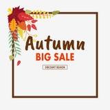 Floral autumn background with leaves. Happy autumn. Hello autumn stock illustration