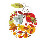 Floral autumn card Stock Photography
