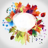 Floral autumn design, watercolor painting royalty free stock photo