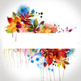 Floral autumn design, watercolor painting Stock Image