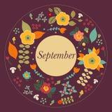 Floral autumn doodle frame Royalty Free Stock Photos