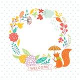 Floral autumn frame stock illustration
