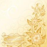 Floral avec de l'or des textes Photo stock