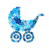 Floral baby boy stroller in blue hues Royalty Free Stock Photography