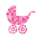 Floral baby girl stroller in pink hues Royalty Free Stock Photography