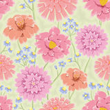 Floral bacground with pink hand drawn flowers Stock Image