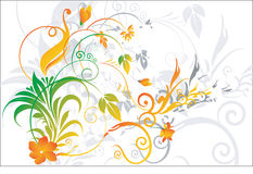 Floral back ground. Flowers and leaves on Flowers and leaves on floral back ground vector illustration