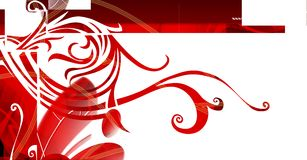 Floral backdrop. Abstract floral background, with red curls, and white space for text insertion Stock Image