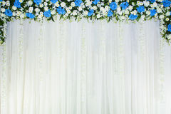 Floral backdrop with white cloth royalty free stock images