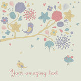 Floral backgorund with cute birds Royalty Free Stock Images