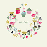 Floral backgorund with cute cupcakes. Floral background with cute cupcakes in cartoon style. Happy birthday greeting card. Invitation. Place for text Royalty Free Stock Images