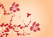 Floral backgound. Red flowers on orange background Stock Images