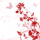 Floral background 01. Red floral flowers with butterfly and paint drips Royalty Free Stock Images