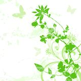 Floral background 02. Green floral flowers with butterfly and paint drips Royalty Free Stock Photography