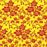 Floral background. Pattern(seamless).Red on yellow Royalty Free Stock Image