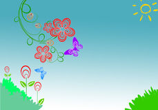 Floral Background. With butterfly and grass Stock Photography