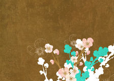 Floral background. Illustration of flowers on linen Royalty Free Stock Images