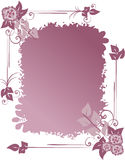 Floral background. Decorative frame with flowers and leaves violet color Stock Photo