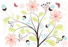 Floral background. Retro Floral Background with butterfly, element for design, vector illustration Royalty Free Stock Photography