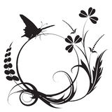 Floral background. With butterfly in black and white colors Royalty Free Stock Photography