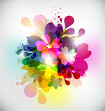 Floral background. The composition of flowers and water droplets vector illustration