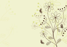 Floral background. Retro Floral Background with butterfly, element for design,  illustration Stock Images