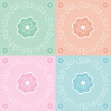 Floral background. Green, orange, pink and blue floral background Vector Illustration