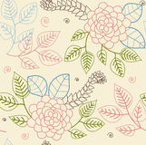 Floral background. Seamless floral pattern - retro stylized roses and leaves royalty free illustration
