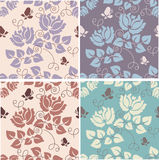 Floral background. Set of seamess floral patterns Royalty Free Stock Image