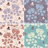 Floral background. Set of seamess floral patterns Vector Illustration