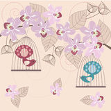 Floral background. Abstract floral elegant background - birds and orchids royalty free illustration