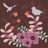 Floral background. Abstract garden - birds and flowers vector illustration
