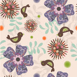 Floral background. Stylish floral retro stylized seamless pattern vector illustration