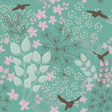 Floral background. Abstract floral seamless pattern with birds vector illustration