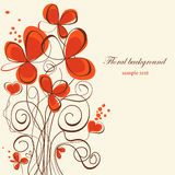Floral background. Cute floral background with hearts Royalty Free Stock Images