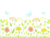 Floral background. Floral seamless background with flowers and butterflies Royalty Free Stock Images