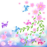 Floral background. Pink flowers background with butterfly Royalty Free Stock Images