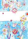 Floral Background. Floral illustration created with watercolor, pencils and ink. Happy, pastel colors and space in the middle left for text. Perfect for greeting Royalty Free Stock Photo