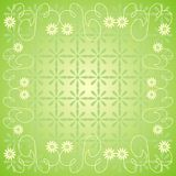Floral background. Green spring background with flowers Stock Illustration