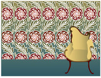 Floral background. Design of wallpaper with chair Royalty Free Stock Photo