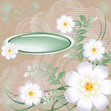 Floral background. Floral spring background with button royalty free illustration