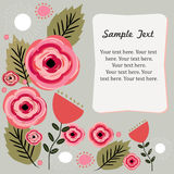 Floral background. Beautiful hand-drawn floral illustration card with a banner for your text royalty free illustration