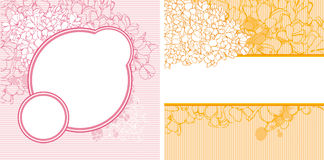 Floral background. Set of colorful backgrounds with flowers royalty free illustration