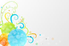 Floral background. Or corner with colorful motif and bubbles Royalty Free Stock Image