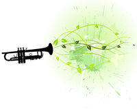 Floral background. Wind instrument with Floral border for design use. Vector illustration Stock Image