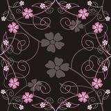 Floral Background. A symetrical floral design on a black background. The flowers are in pink and grey Vector Illustration